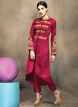 Magenta Art Silk Straight Pant Set