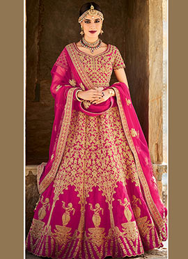 Magenta Art Silk Umbrella Lehenga