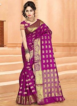 Magenta Art Tussar Silk Saree