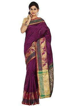 Magenta Banarasi Art Silk Saree