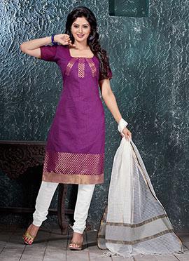 Magenta Benarasi Art Silk Churidar Suit
