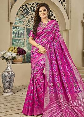 Magenta Benarasi Art Silk Saree