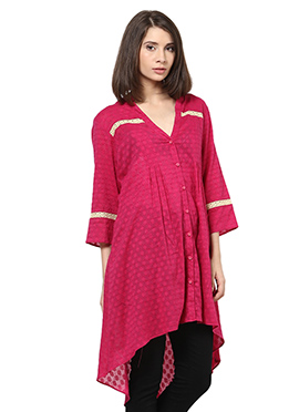 Magenta Blended Cotton Asymmetrical Tunic