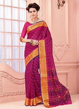 Magenta Blended Cotton Saree