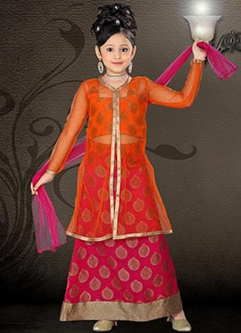 Magenta Brocade Teens Long Choli Lehenga