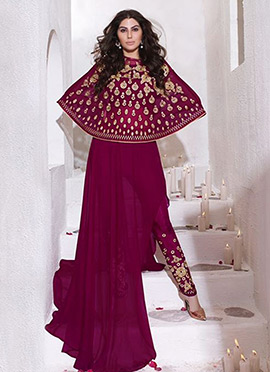 Magenta Cape Style Straight Pant Suit