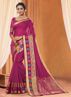 Magenta Chanderi Cotton Saree
