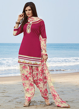 Magenta Chanderi Silk Salwar Suit