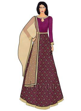 Magenta Close Collar Embroidered Art Silk Abaya Suit