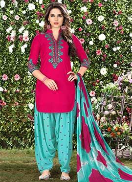 Magenta Cotton Salwar Suit