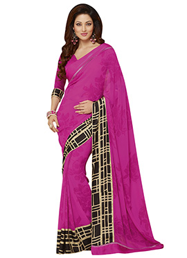 Magenta Crepe Foliage Patterned Saree