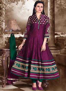 Purple Embroidered Anarkali Suit