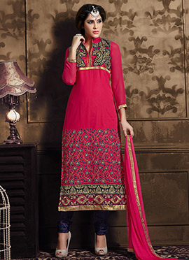 Magenta Embroidered Straight Suit