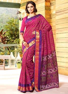 Magenta Gadwal Silk Printed Floral Designed Saree