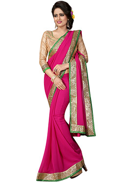 Magenta Georgette Border Saree