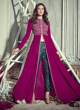 Magenta Georgette Center Slit Straight Pant Suit