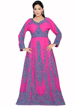 Magenta Georgette Embellished Fustan