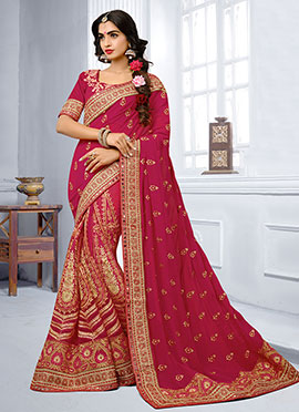 Magenta Georgette Net Saree
