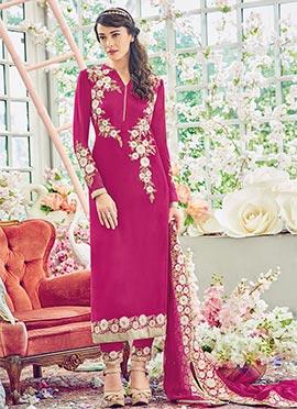 Magenta Georgette Pakistani Suit