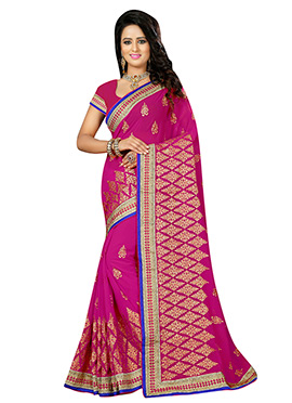 Magenta Georgette Saree