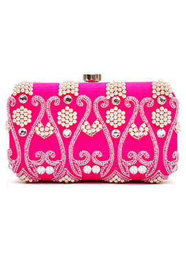 Magenta Moti N Beads Embellished Box Clutch