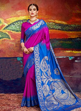Magenta N Blue Art Silk Saree
