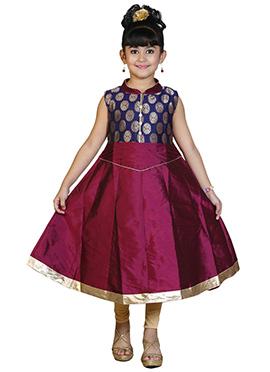 Magenta N Blue Kids Anarkali Suit