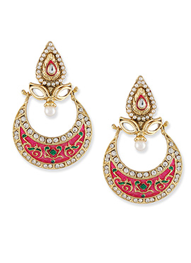 Magenta N Gold Colored Chand Bali Earrings