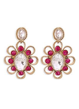 Magenta N Gold Crystals Drop Earrings