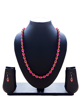 Magenta N Gold Necklace Set
