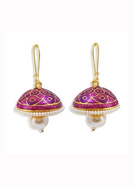 Magenta N Golden Beads Hooks Earrings