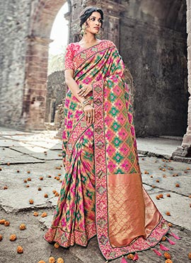 Magenta N Green Art Benarasi Silk Saree