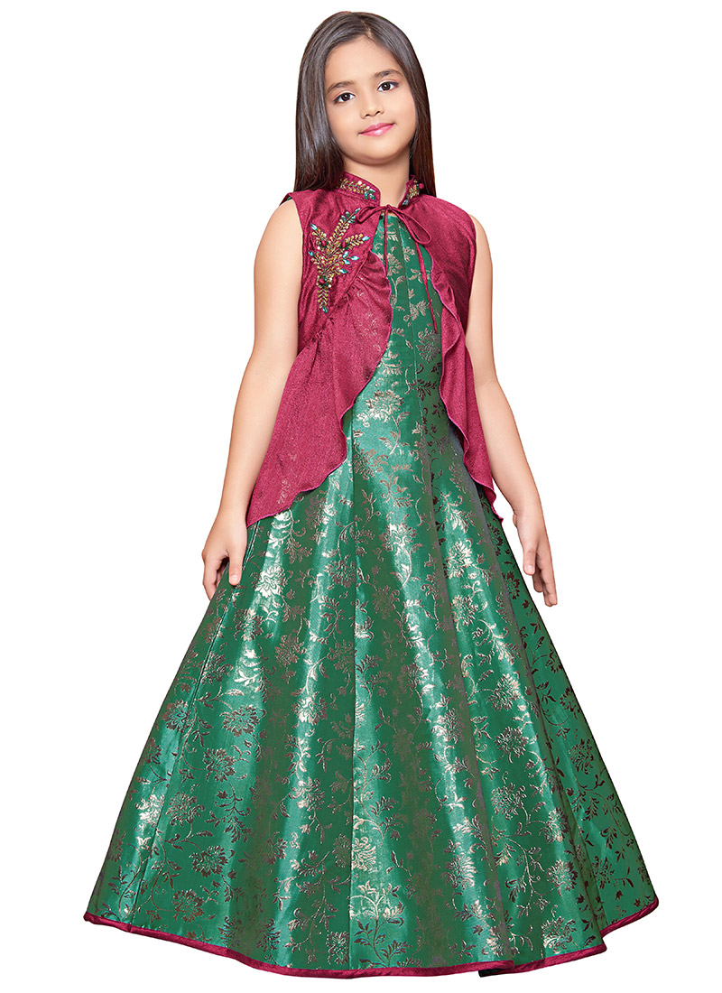 870b11eb2212f Buy Magenta N Green Embroidered Kids Gown, Stones , Jacquard ...