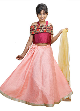 Magenta N Light Pink Art Silk Kids A Line Lehenga