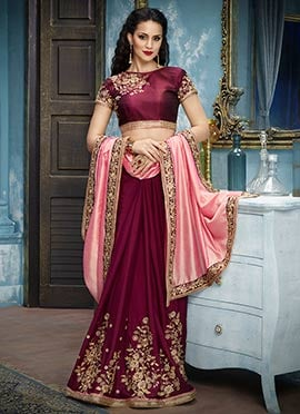 Magenta N Light Pink Embroidered Half N Half Saree