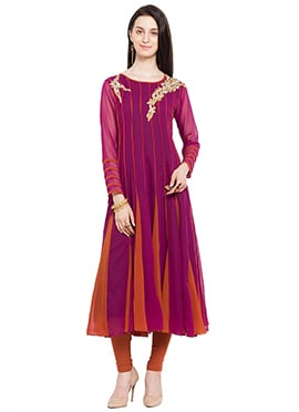 Purple and Brown Georgette Anarkali Kurti