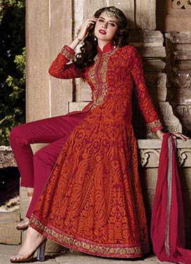 Magenta N Orange Georgette Straight Pant Suit