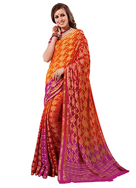 Magenta N Orange Ombre Crepe Silk Saree