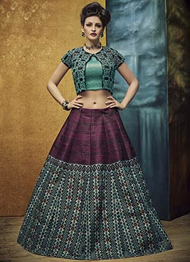Magenta N Teal Blue Umbrella Lehenga Choli