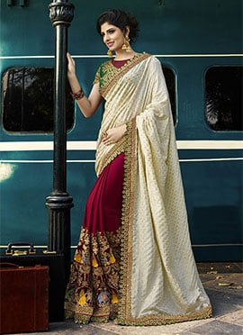 Magenta N Off White Half N Half Saree