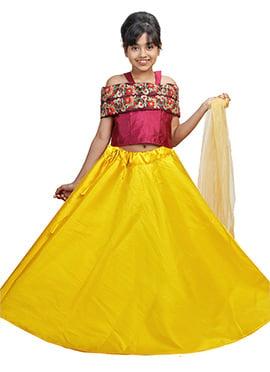 Magenta N Yellow Art Silk Kids A Line Lehenga