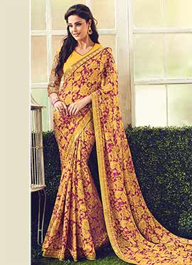 Magenta N Yellow Printed Saree