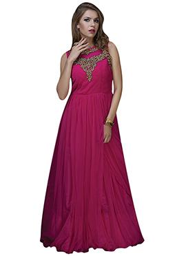 Magenta Net Anarkali Gown