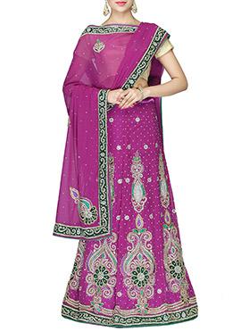 Magenta Net Embellished Lehenga choli