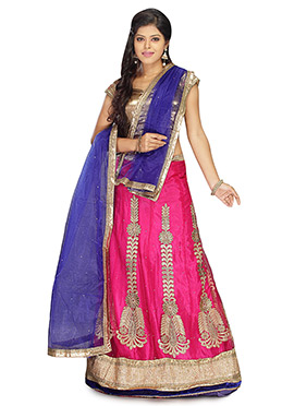 Magenta Net Embroidered A Line Lehenga Choli