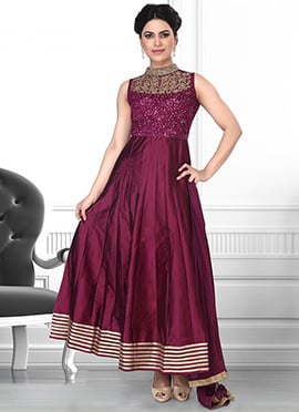 Magenta Net N Art Silk Anarkali Suit