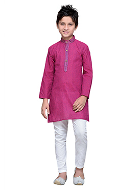 Magenta Pink Cotton Striped Boys Kurta Pyjama