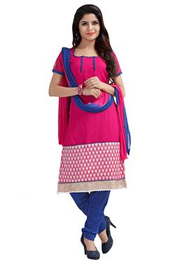 Magenta Pink Net Churidar Suit