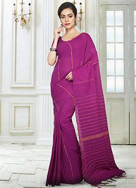 Magenta Printed Handloom Saree