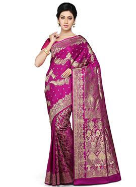 Magenta Pure Benarasi Silk Half N Half Saree